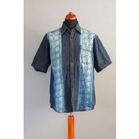 Denim batik overhemd korte mouw 0706-02