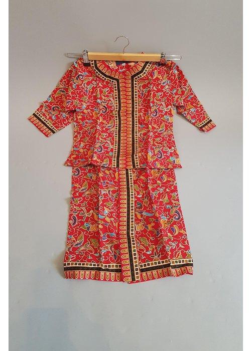Kinder batik stewardess rood