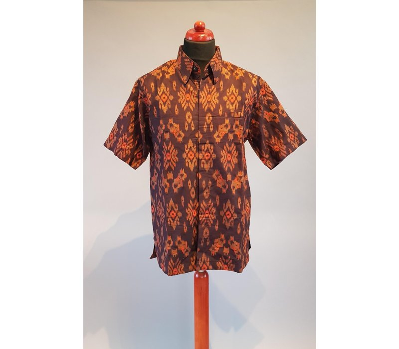 Batik overhemd korte mouw 0401-14