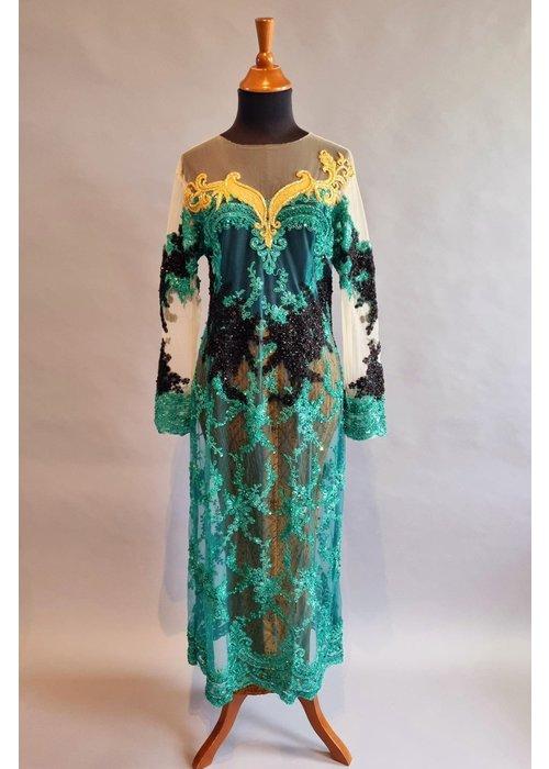 Bruids kebaya glamour turquoise met bijpassende sarong