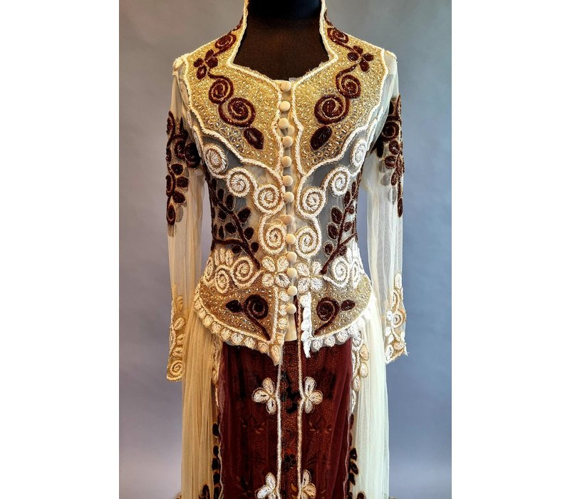 Bruids kebaya glamour kastanje met bijpassende sarong & vaste sleep
