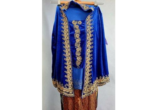 Kinder kebaya koningsblauw met bijpassende rok plissé