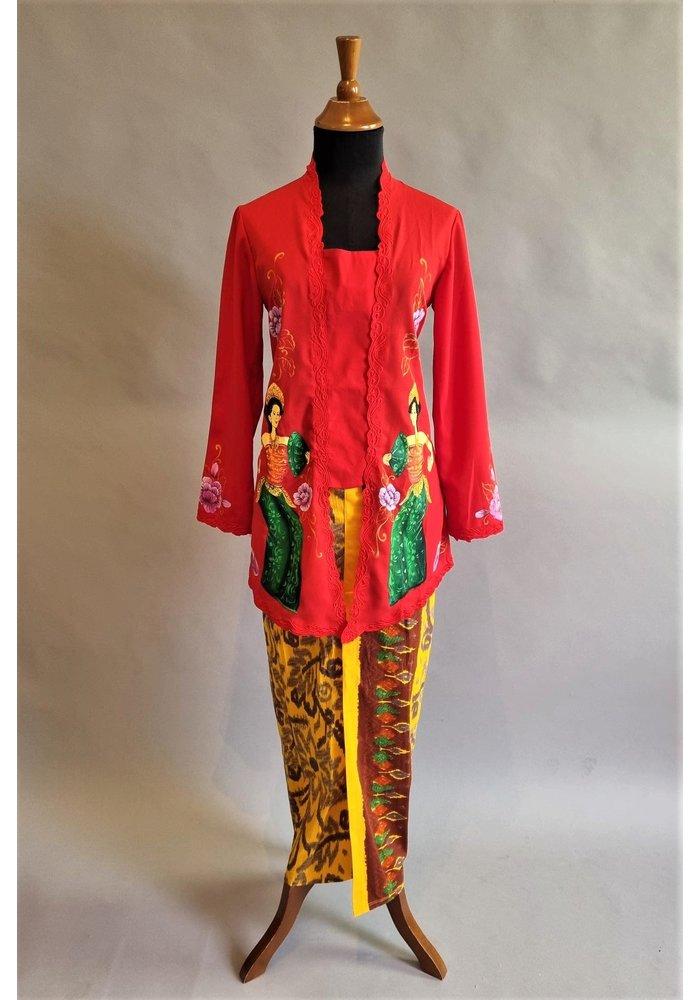 Kebaya lukis rood met bijpassende sarong