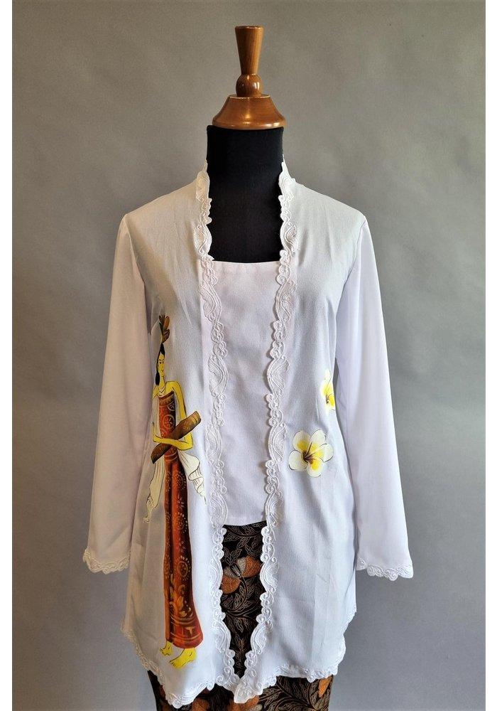 Kebaya lukis wit met bijpassende sarong