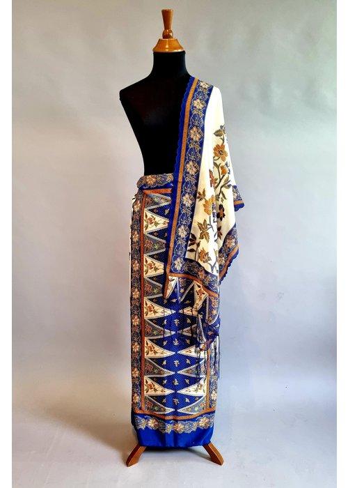 Batik stof blauw met bijpassende selendang