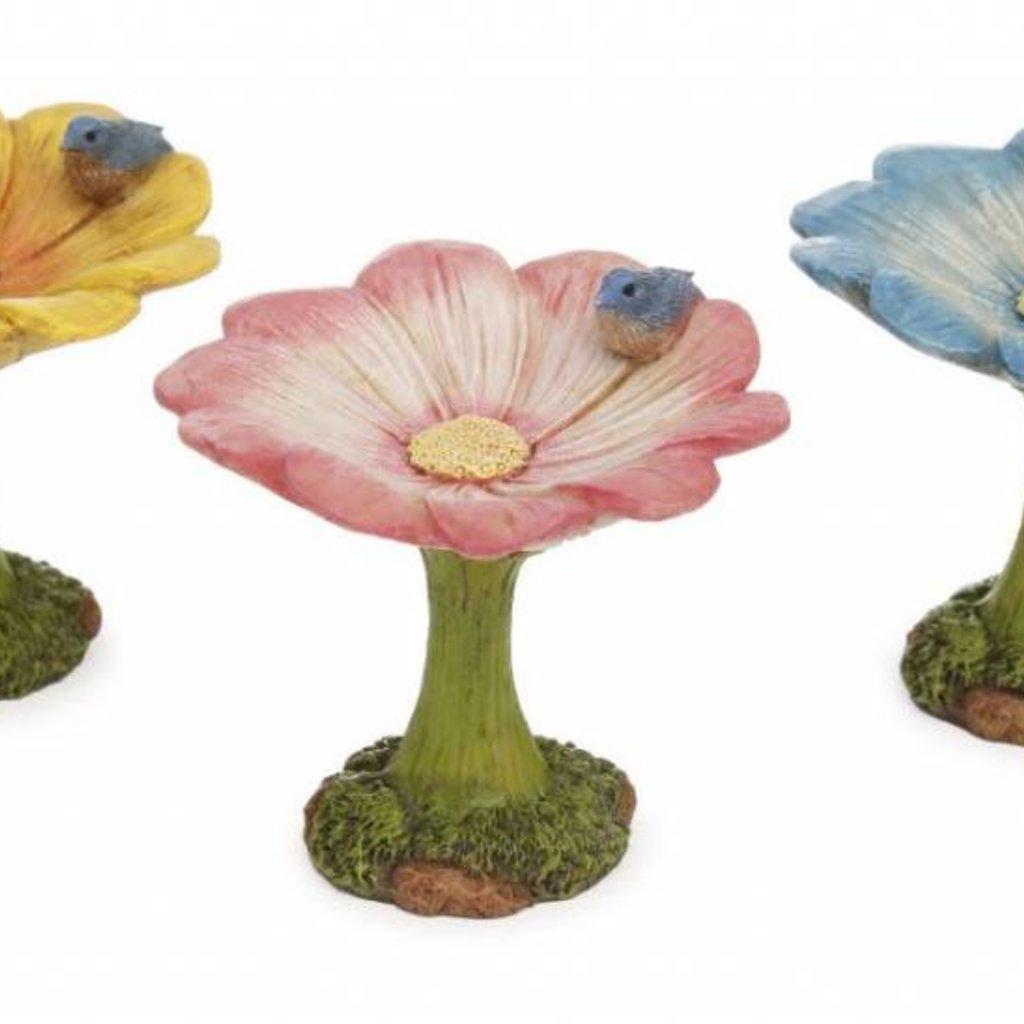 Woodland Knoll Woodland Knoll - Resin Flower Bird Bath (Assorted Colours)