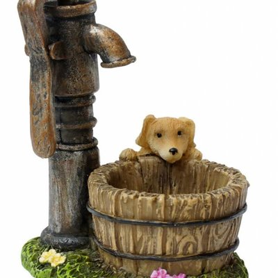 Woodland Knoll Woodland Knoll - Resin Well with Puppy