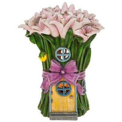Fairy Dell Fairy Dell - Solar Lily Flower House w/Bow