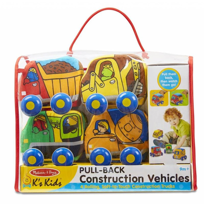 K's Kids Pull-Back Soft Construction Vehicles