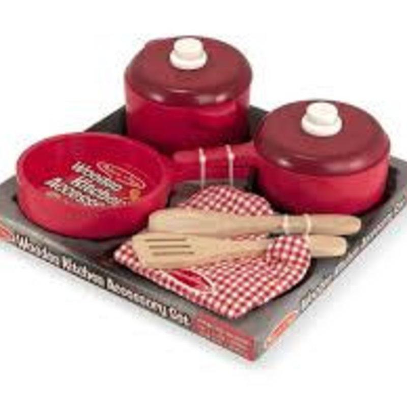 Melissa & Doug Wooden Kitchen Accessory Set (Pots and Pans)