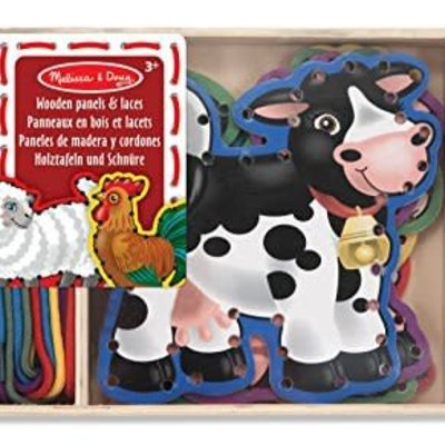 Melissa & Doug Wooden Panels & Laces - Farm Animals