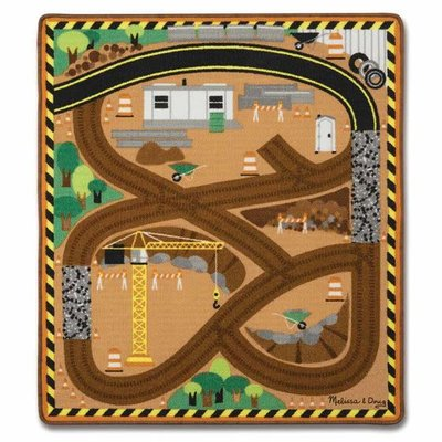 Melissa & Doug Construction Work Site Rug with 3 Wooden Trucks