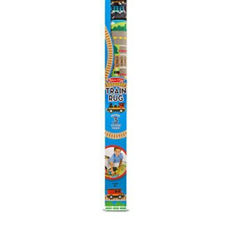 Melissa & Doug Train Rug with 3 wooden trains