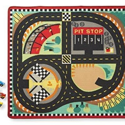 Melissa & Doug Race Track Rug with 4 Wooden Cars