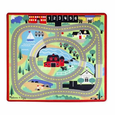 Melissa & Doug Round the Town Road Rug with 4 Vehicles