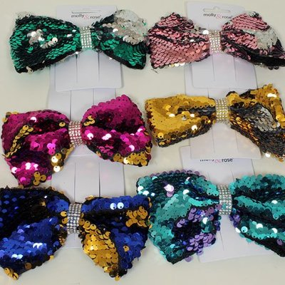 Molly & Rose Reversible Sequin Bow 12cm