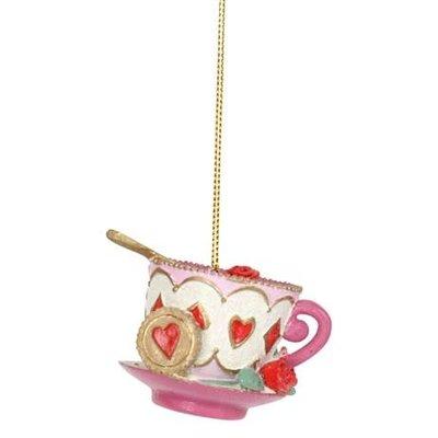 Gisela Graham Alice in Wonderland Resin Teacup and Saucer Hanging Decoration
