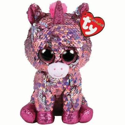 Ty Flippable Sequin Sparkle Pink Unicorn - Beanie Boo