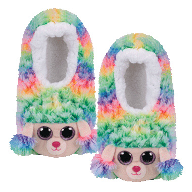 Ty Rainbow Poodle Ty Beanie Boo Slippers - Small - UK Size 11