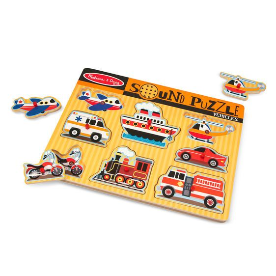 Melissa & Doug Sound Peg Puzzle - Vehicle