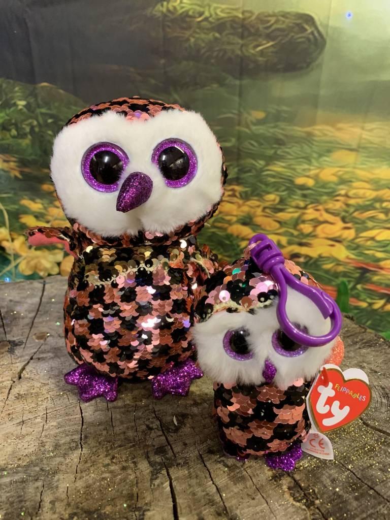 Ty Flippable Sequin Checks Owl  - Beanie Boo Key Clip