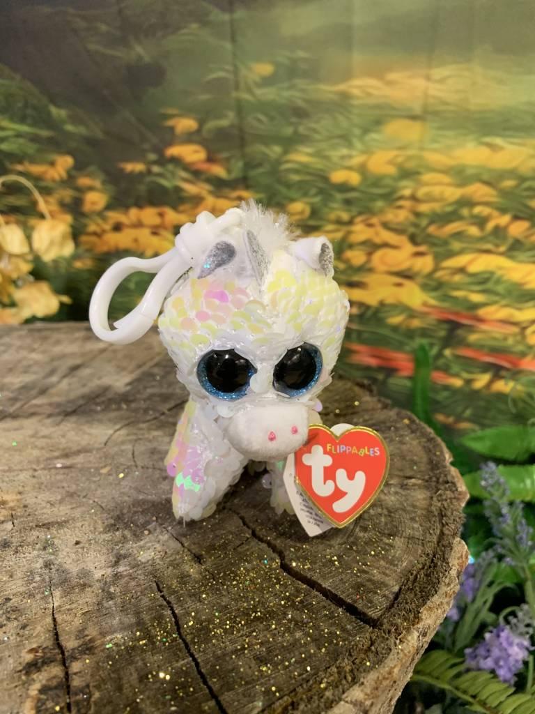 Ty Flippable Sequin Diamond White Unicorn  - Beanie Boo Key Clip
