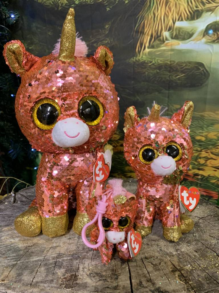 Ty Flippable Sequin Sunset Unicorn  - Beanie Boo Key Clip