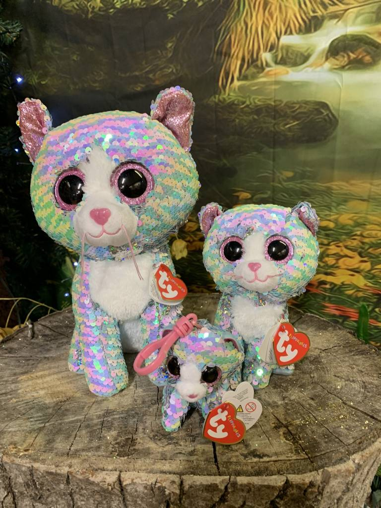 Flippable Sequin Whimsy Blue Cat - Beanie Boo - Celebrations and Toys 329ee2140d9c