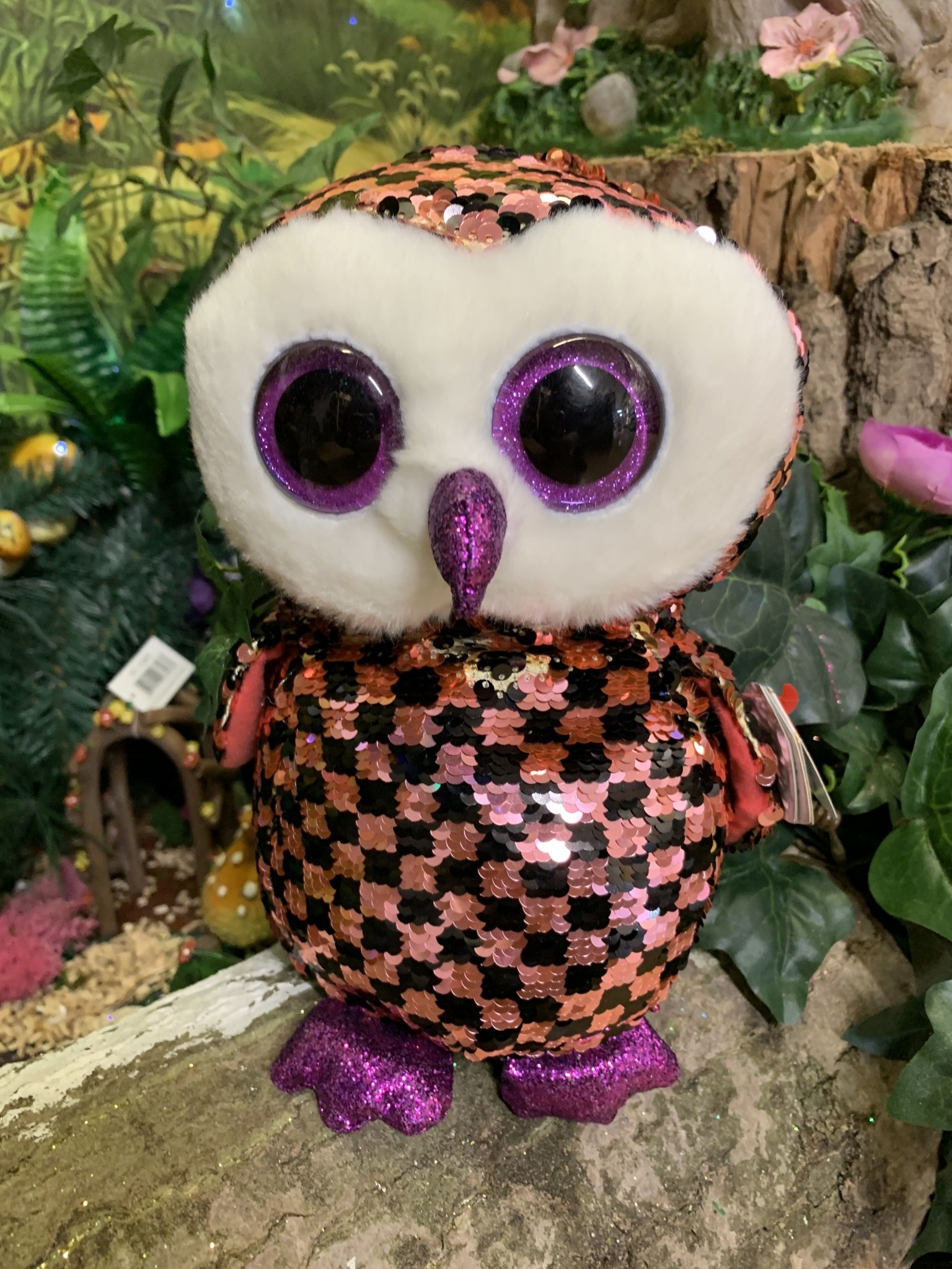 Ty Flippable Sequin Checks the Owl - Beanie Boo Buddy