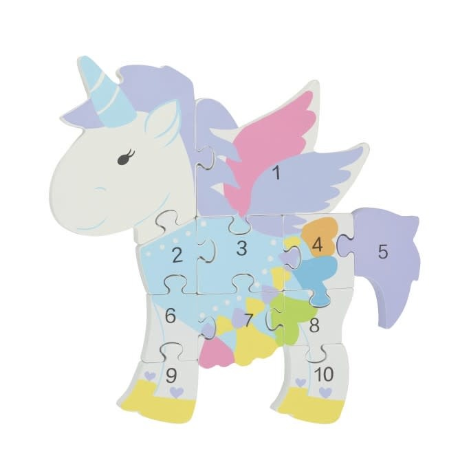 Wooden Number - Unicorn Puzzle