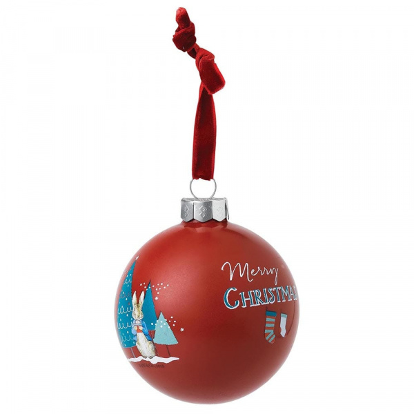 Beatrix Potter Peter Rabbit - Mrs Rabbit & Peter Merry Christmas Bauble