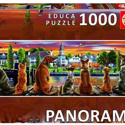 Educa 1000pcs - Dogs on the Quay Panorama Puzzle