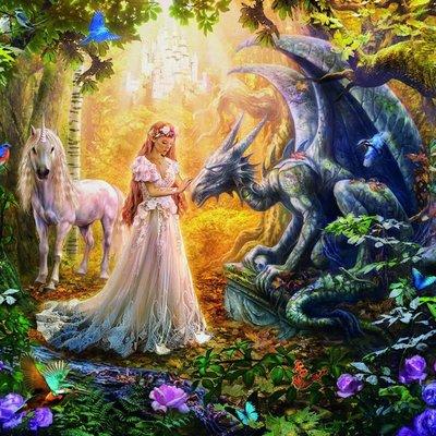 Educa 1500pcs - Dragon, Princess & Unicorn Puzzle