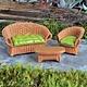 Fiddlehead Fiddlehead - Wicker Settee w/Cushion, Brown/Green
