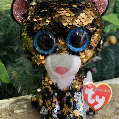 Ty Flippable Sequin Sterling the Leopard - Beanie Boo