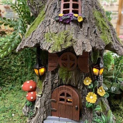 Fairy Cottage with Grass Roof  - Solar Powered