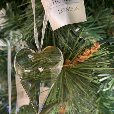 Gisela Graham Glass Heart Shape Hanging Decoration
