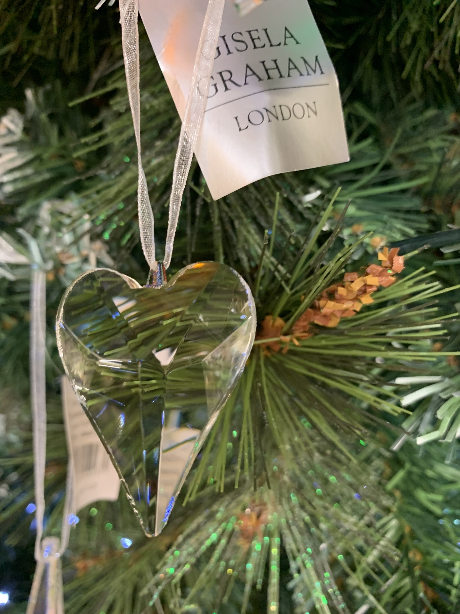 Glass Heart Shape Hanging Decoration