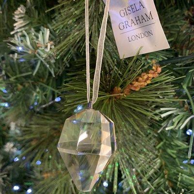 Gisela Graham Glass Diamond Shape Hanging Decoration