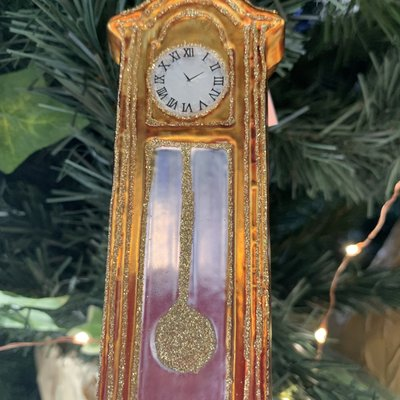 Gisela Graham Painted Glass Grandfather Clock - Hanging Decoration
