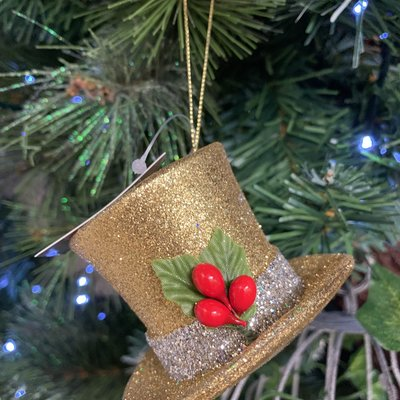 Gisela Graham Gold Top Hat Hanging Decoration