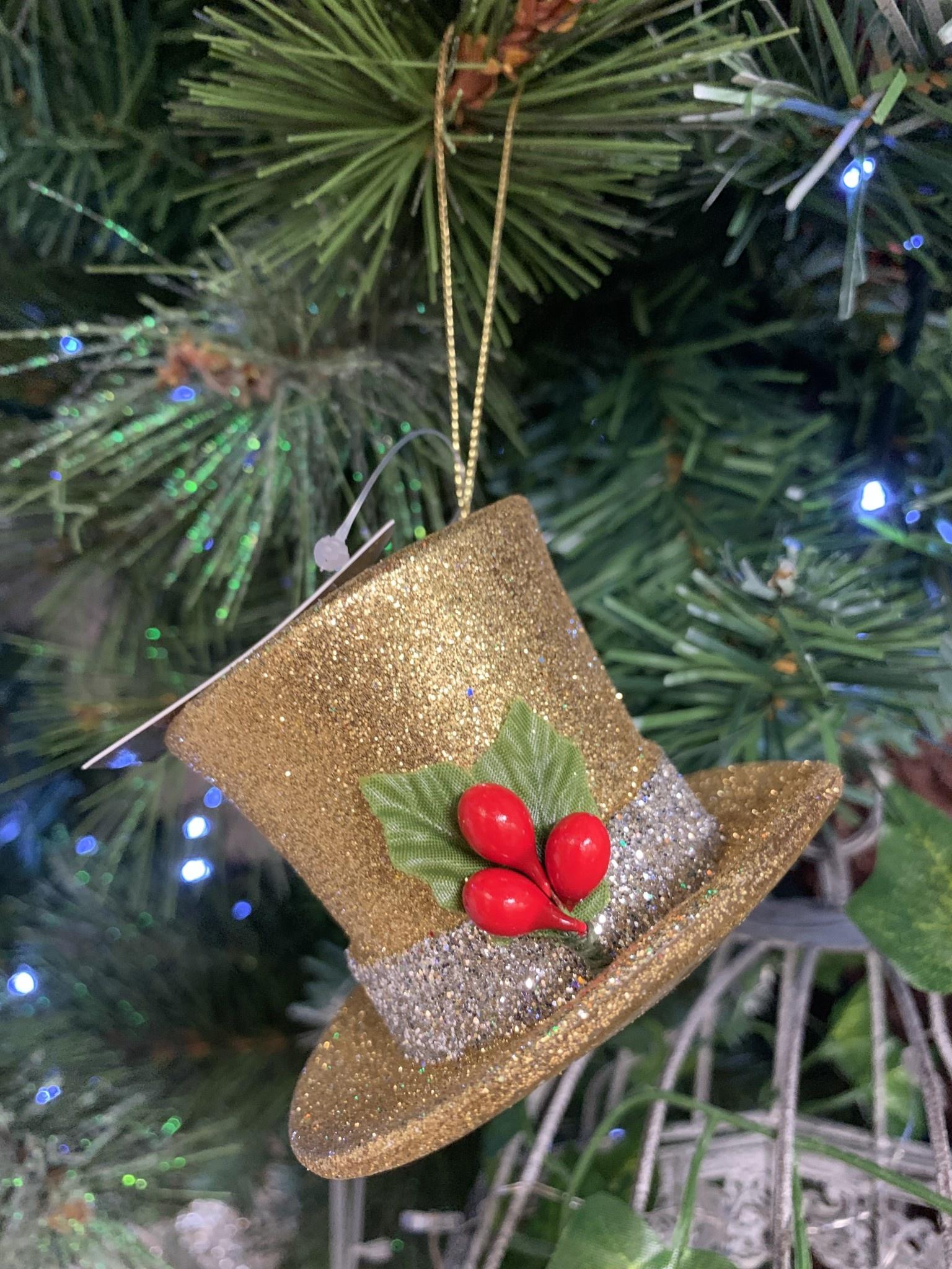 Gisela Graham Gold Top Hat Hanging Decoration