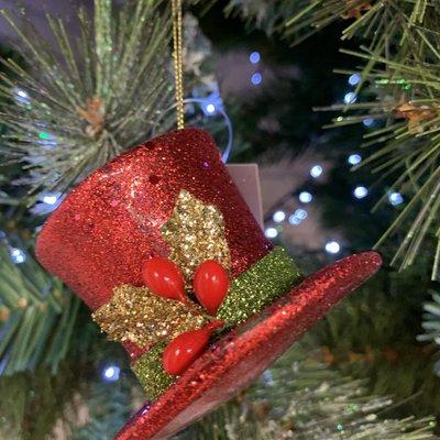 Gisela Graham Red Top Hat Hanging Decoration