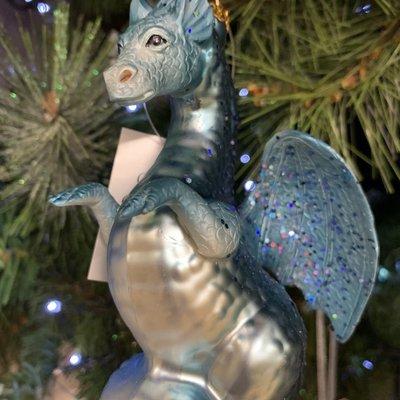 Gisela Graham Painted Blue Glass Dragon Hanging Decoration