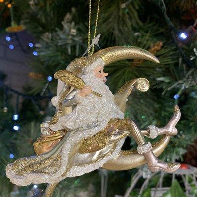 Gisela Graham Silver, Gold & White Santa on Moon Hanging Decoration