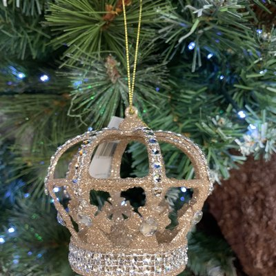 Gisela Graham Antique Gold Glitter Crown with Clear jewels - Hanging Decoration