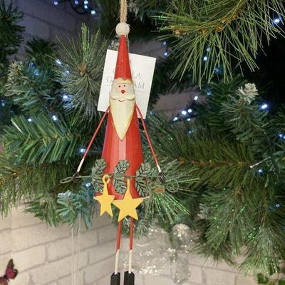Gisela Graham Red Tin Tall Santa with Stars Hanging Decoration