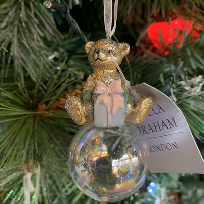 Gisela Graham Gold Resin Teddy with Present on Bubble Hanging Decoration