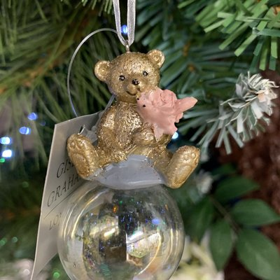 Gisela Graham Gold Resin Teddy with Flower on Bubble Hanging Decoration