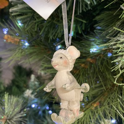 Gisela Graham Silver & Pink Resin Mouse Skiing Hanging Decoration